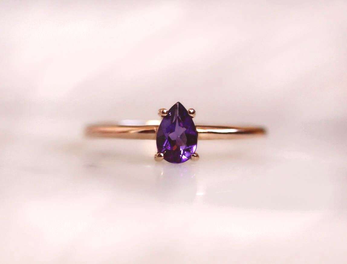 14K Gold Amethyst Ring,