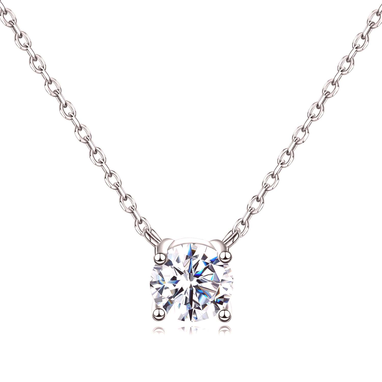 14K Gold Plated Cubic Zirconia Necklace for Women-1.5 Carat CZ Simple Dainty Choker Necklace This c