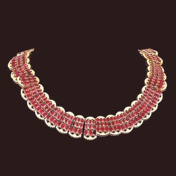 14K YELLOW GOLD 140.00CT RUBY 10.00CT DIAMOND NECKLACE