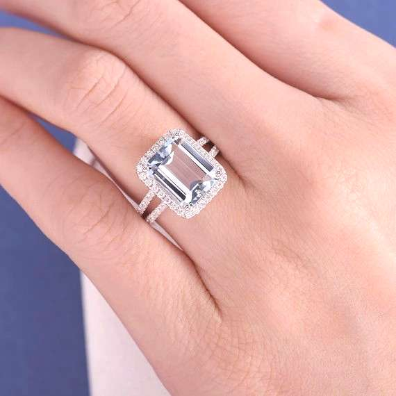 18K Emerald Cut Aquamarine Engagement Ring Halo Aquamarine Ring Diamon - Dupuy Jewelry