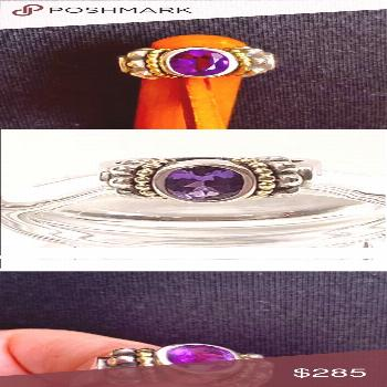 ❤️ LAGOS 18K & Sterling Silver Amethyst Ring Gorgeous LAGOS amethyst ring from the Caviar Colle