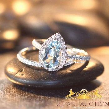 14K White Gold Fn Pear Aquamarine & Diamond Engagement Ring Wedding Bridal Set