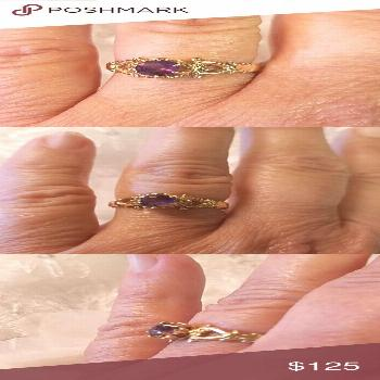 14K Yellow Gold Purple Amethyst Ring This is an absolutely gorgeous 14 karat yellow gold ring featu