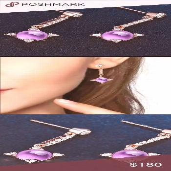 2.2 CT Natural Amethyst & Silver Earring 160001750 4.4 CT Natural Amethyst Earring ( Each 2.2 CT)