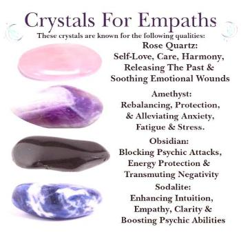 4 x Crystals For Empaths/Introverts Amethyst, Pink Rose Quartz, Obsidian & Sodalite Tumblestones St
