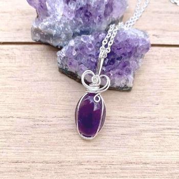 Amethyst Crystal Necklace, Small Amethyst Jewelry, Amethyst Pendant, Wire Wrapped Gemstone, Wire Wr