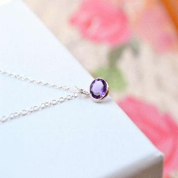 Amethyst Necklace, February Birthstone Necklace, Gem Necklace, Amethyst Jewelry, Amethyst Pendant N