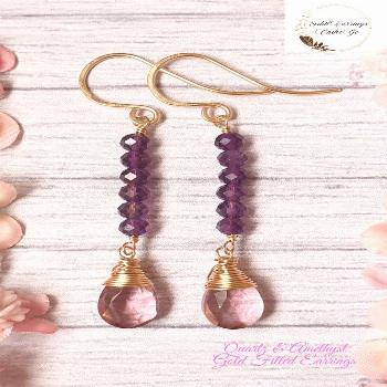 Amethyst & Pink Quartz 14K Gold Filled Earrings These unique statement earrings feature handsome Af
