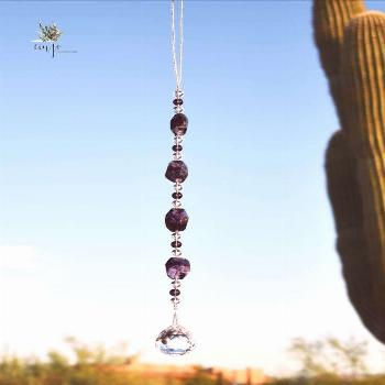 Amethyst Stone Suncatcher Extra large, genuine Amethyst stone beads and a large crystal prism. The