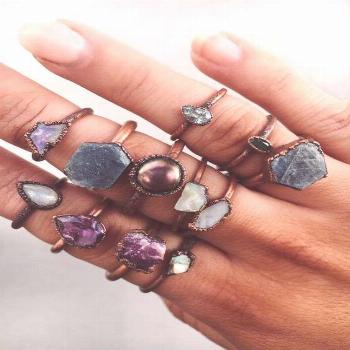 Amethyst Tear Drop and Copper Ring | Bohemian Gypsy Festival Jewellery | Indie and Harper