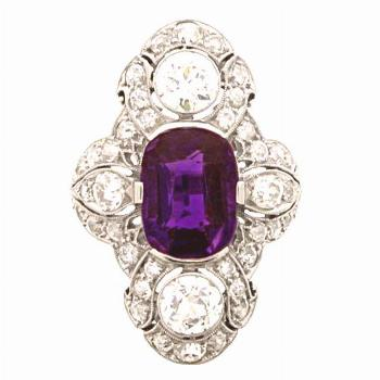 Antique amethyst and diamond ring by Dreicer & Co