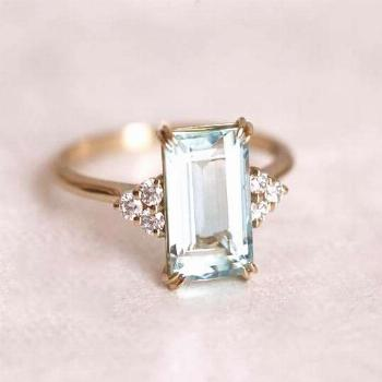 Aquamarine engagement ring with side diamonds. Please choose the main gemstone from the drop down m