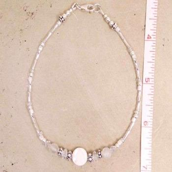 Beautiful white mother-of-pearl and gemstone sterling silver anklet, ankle bracelet. Part of my new