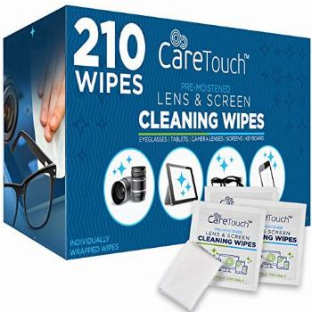 Care Touch Lens Cleaning Wipes - 210 Pre-Moistened and