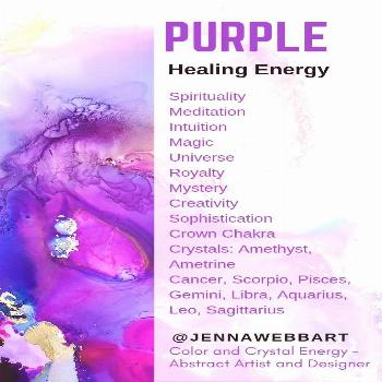 Copy of Copy of purple color psychology info graphic jenna webb art purple energy crystal healing