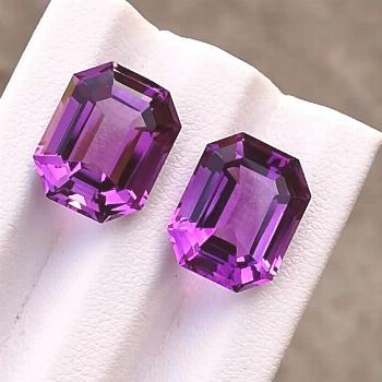 Flawless 14.30 Carats, Natural, Perfect Pair of Amethyst, Purple