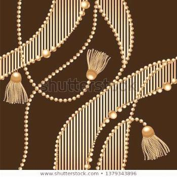 Gold chain seamless on black background. Fashion illustration. Collection of jew...        Goldkett