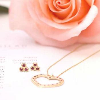 Gold Ruby Jewelry Set, Gold Heart Pendant Necklace, 18k Gold Earrings, Gold Necklace and Earring Se