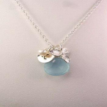 Initial Necklace  Chalcedony Orchid Monogram by MesmericJewelry, $32.00