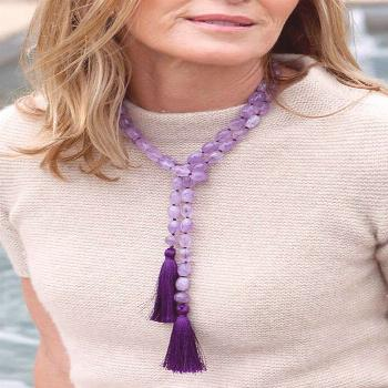Light purple amethyst beads create a ethereal lariat necklace perfect for casual summer gatherings.