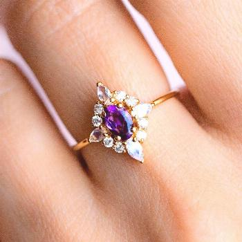 local eclectic | Natural Amethyst Pink Lady 14K Yellow Gold Plated Ring