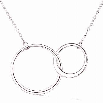Mother and Daughter Necklace-925 Sterling Silver Interlocking Infinity 2 Circle Necklace Gift This