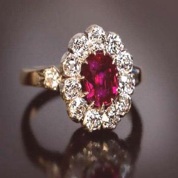Natural Diamond 18K Yellow Gold Ring Solitaire Ruby RS0003B   Etsy