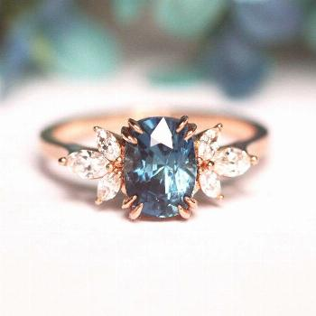 Nicola Blue Sapphire and Diamond Engagement Ring
