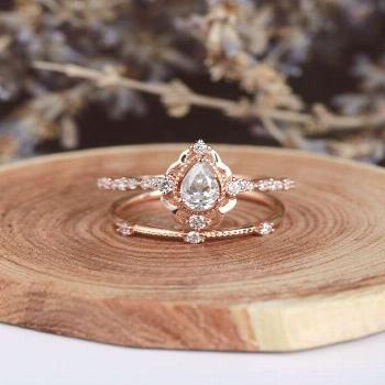 On Sale Moissanite engagement ring pear cut unique rose gold half eternity wedding ring vintage Jew