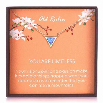Opal Triangle Pendant Necklace Tiny Triangle Necklace Bridesmaid Gift Dainty Pendant, Rose Gold The