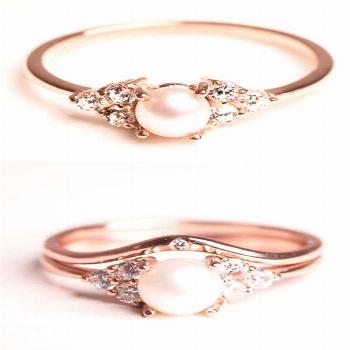 Pearl and Diamond Rose Gold Engagement Ring - Diamond Alternative Engagement Ring Stone - Jewelry -