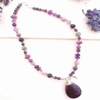 Purple moon. Amethyst stone and mixed purple stone necklace,silver metal jewelry