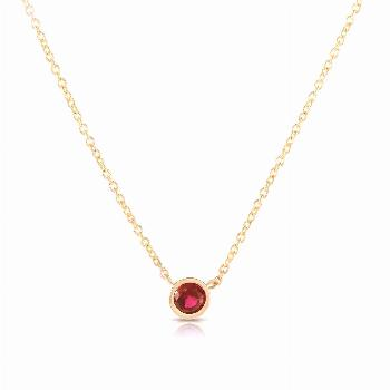 Ruby Solitaire Necklace, 14K Solid Gold, Ruby Bezel, Ruby Pendant, Birthstone, Dainty Necklace, Min