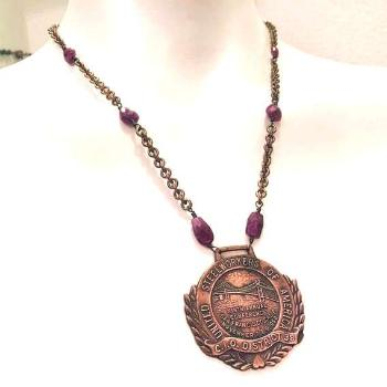 San Francisco Golden Gate Bridge Medal with Faceted Ruby Necklace - Vintage Assemblage Repurposed -