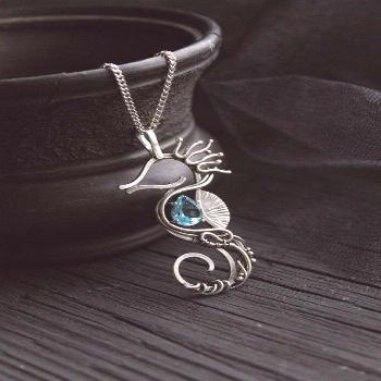 Seahorse silver neckalce with blue topaz Sterling silver | Etsy