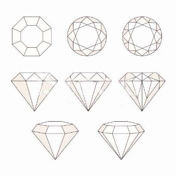 Set of isolated gem stones.Vector set of diamond design elements....   - Drawing tutorial rings aes
