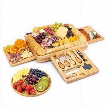 Smirly Cheese Board and Knife Set: 16 x 13 x 2 Inch Wood