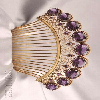 Totally gorgeous Antique Amethyst Tiara, set with nine cushion-cut amethysts graduating in size…