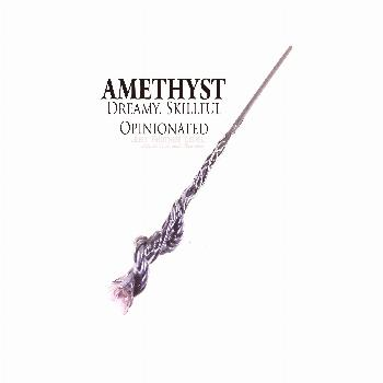 Twist of Fate Wand - Amethyst Crystal Wand with Hand sculpted coil handle and vine brushed in Metal