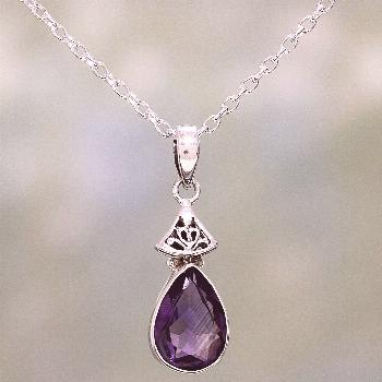 UNICEF Market   Faceted Amethyst and Sterling Silver Necklace from India - Lavender Drop