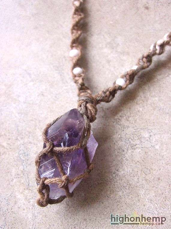 A healing crystal you can bring with you everywhere. This hemp necklace was made with natural mix h