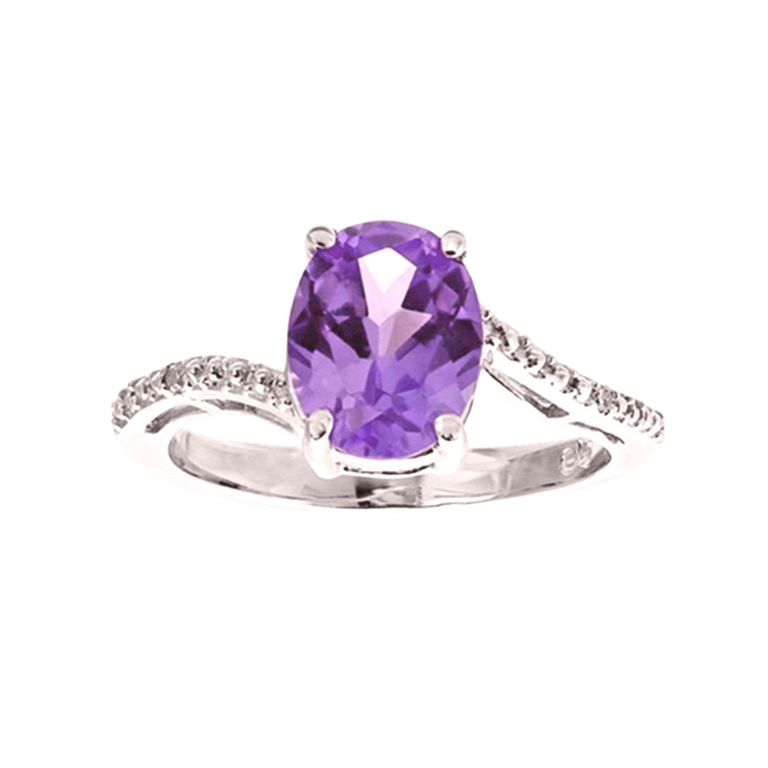 Amethyst and Diamond Accented Ring in Sterling Silver