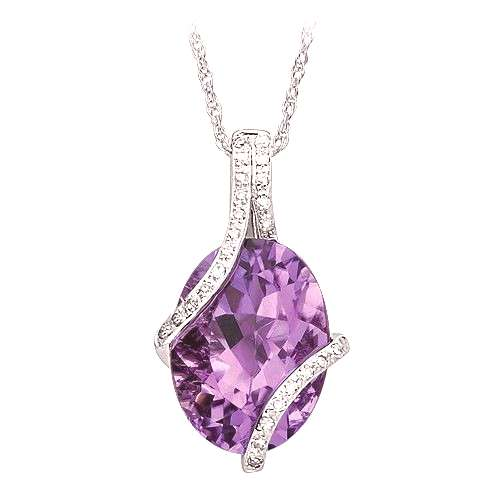 Amethyst and Diamond Fashion Pendant in 10K White Gold