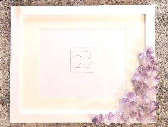 Amethyst Crystal Picture Frame Geode Wood Gift Home Decor Unique Cute Gift Druzy WALL ART Design In