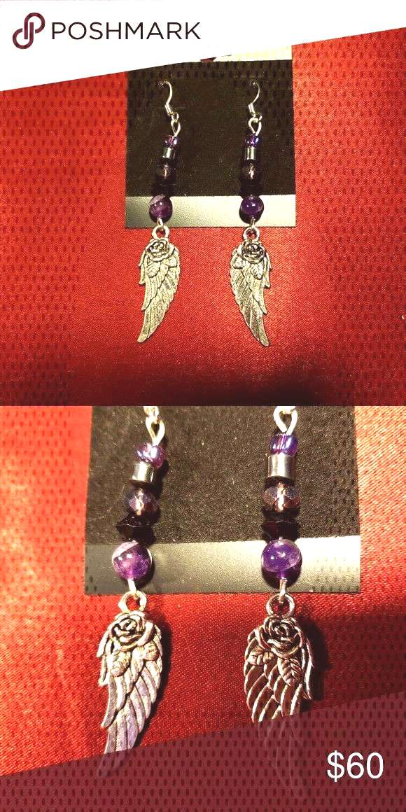 Amethyst Crystal Rose Angel Wings Earrings The Rose Wing Collection is here!  These one of a kind h