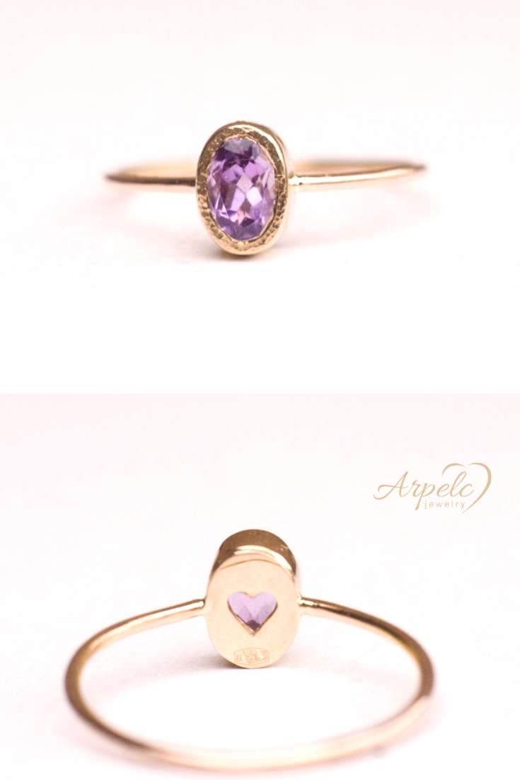 Amethyst Engagement Ring In 14k Gold Gorgeous ring with deep purple amethyst in oval shape. For The