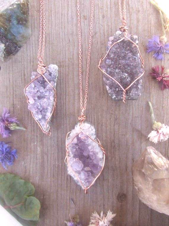 Amethyst geode cluster crystal necklace wire wrapped in pure copper with a real leather chord or co