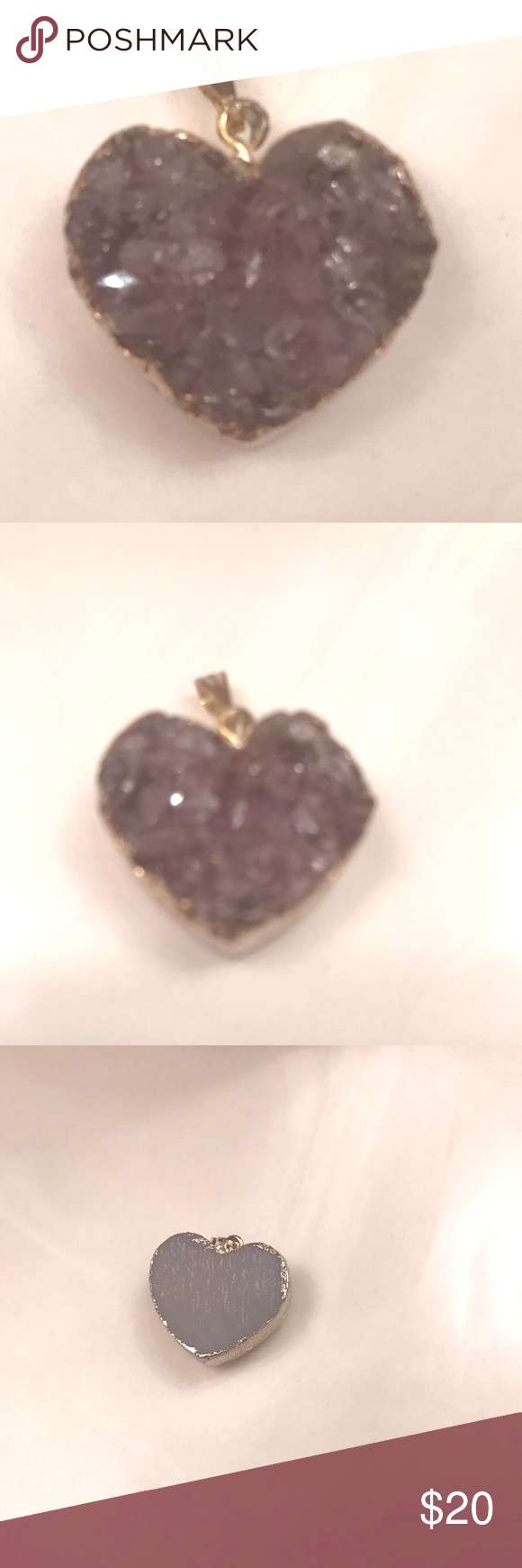 Amethyst heart charm for a necklace Gorgeous Amethyst heart one inch necklace charm slides on any c
