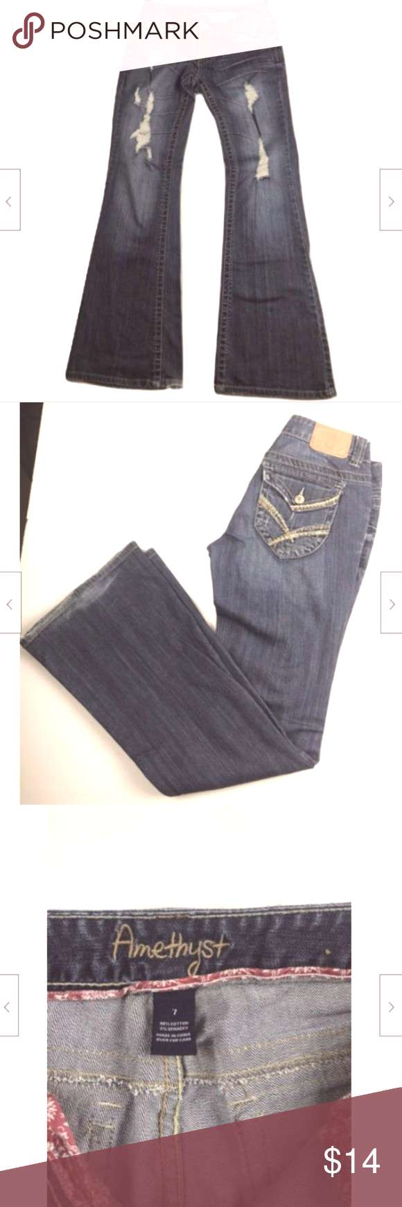 Amethyst Jeans Flare Bootcut Distressed distorted Amethyst Jeans Womens Size 7 Flare Bootcut Distr