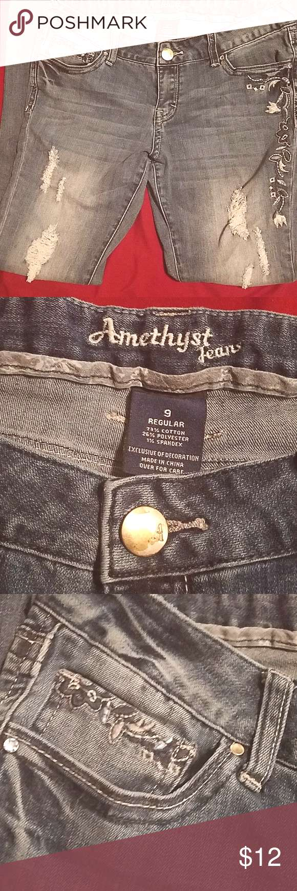 Amethyst jeans size 9 Size 9 dark wash straight leg amethyst jeans, distressed and have blue and wh